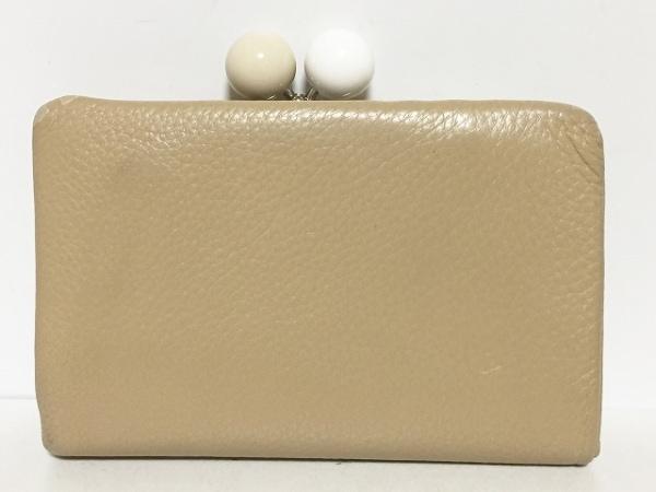 KITAMURA(キタムラ) 2つ折り財布 ベージュ がま口 レザー
