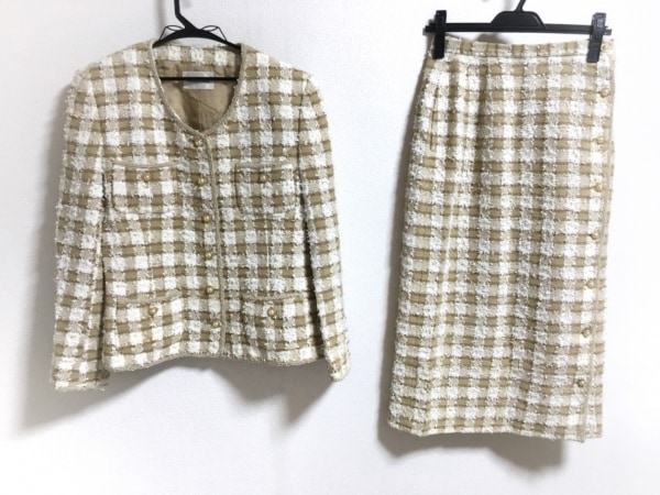 インゲボルグ スカートスーツ サイズM レディース美品  ベージュ×白×ブラウン