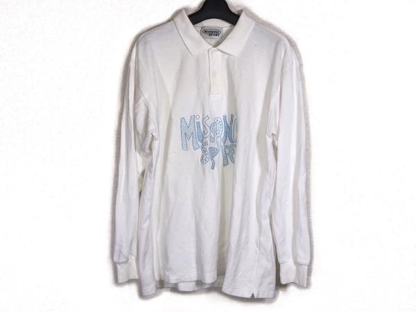 MISSONI SPORT(ミッソーニスポーツ) 長袖ポロシャツ サイズM メンズ 白×ライトブルー