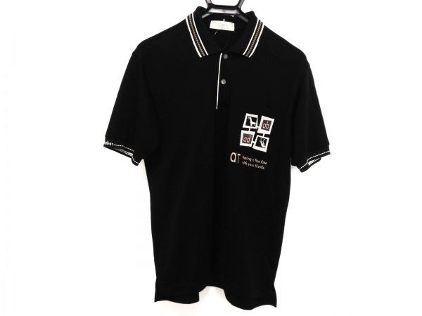 Adabat(アダバット) 半袖ポロシャツ メンズ 黒×白×ベージュ
