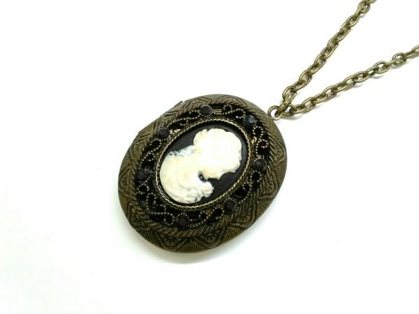 ANNA SUI(アナスイ) ネックレス 金属素材 ゴールド×黒×アイボリー ラインストーン