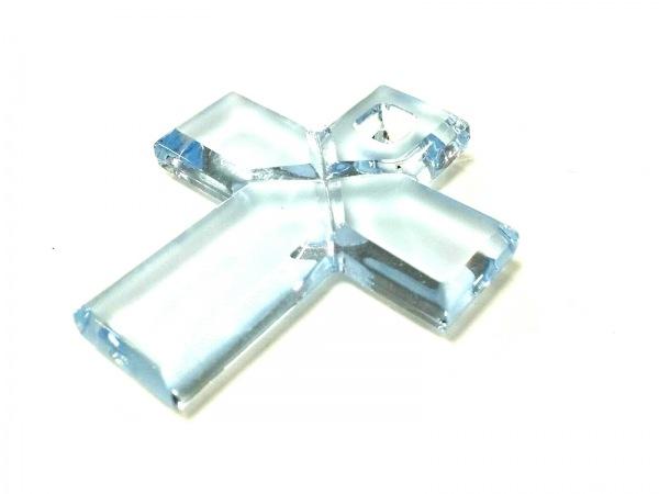 Baccarat(バカラ) ペンダントトップ美品  クリスタルガラス ライトブルー クロス
