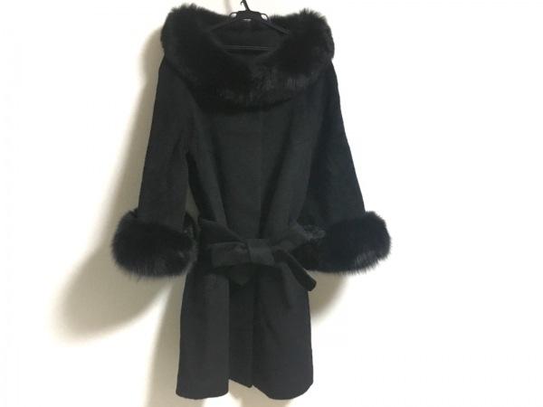 スプラングフレール コート サイズS レディース新品同様  黒 冬物/ファー