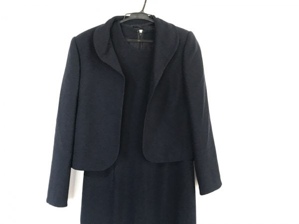 ジュンアシダ ワンピーススーツ サイズ9 M レディース美品  ネイビー 肩パッド