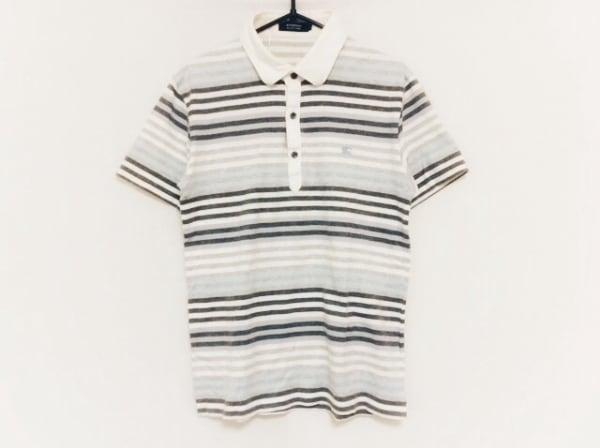 バーバリーブラックレーベル 半袖ポロシャツ サイズ2 M メンズ グレー×マルチ