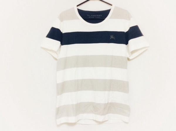 バーバリーブラックレーベル 半袖Tシャツ サイズ2 M メンズ 白×ネイビー×グレー