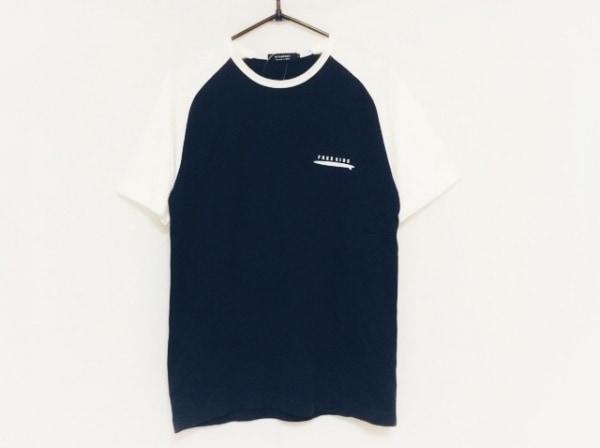 バーバリーブラックレーベル 半袖Tシャツ サイズ2 M メンズ ネイビー×白