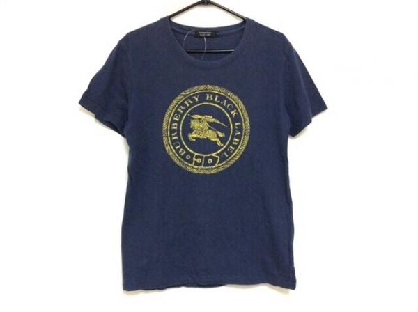 バーバリーブラックレーベル 半袖Tシャツ サイズ2 M メンズ ネイビー×イエロー