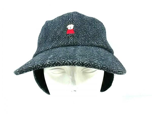 PICONE(ピッコーネ) 帽子 黒×グレー ウール×ナイロン×ポリウレタン