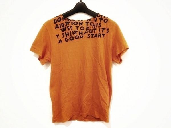 MARTIN MARGIELA(マルタンマルジェラ) 半袖Tシャツ サイズS レディース オレンジ×黒