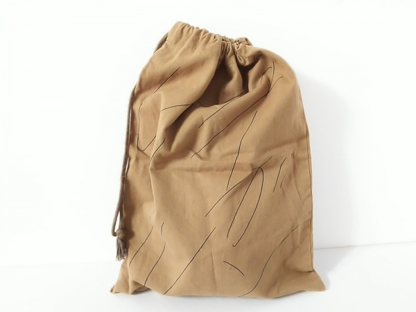 JURGEN LEHL(ヨーガンレール) ポーチ ライトブラウン×黒 巾着 コットン
