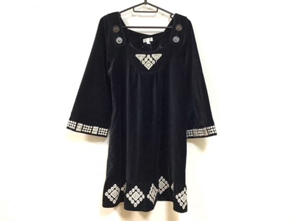 archi(アーキ) ワンピース サイズM レディース 黒×アイボリー 刺繍