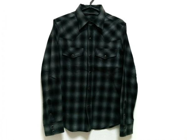 リチウムオム 長袖シャツ サイズ46 XL メンズ ライトグレー×マルチ チェック柄