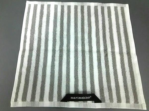 マリメッコ 小物美品  白×ライトグレー ハンドタオル/ストライプ コットン