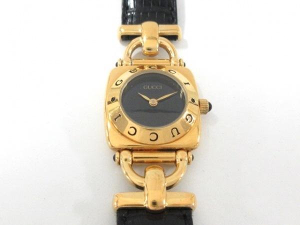 new product 9f3f3 a484f GUCCI(グッチ) 腕時計 6300L レディース 革ベルト 黒