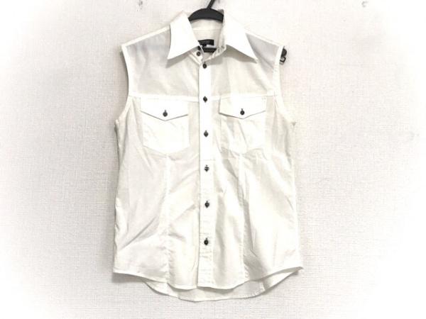 バーバリーブラックレーベル ノースリーブシャツ サイズ2 M メンズ 白×黒