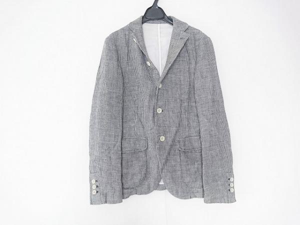 トゥモローランド ジャケット サイズ48 XL メンズ 白×ダークネイビー 千鳥格子