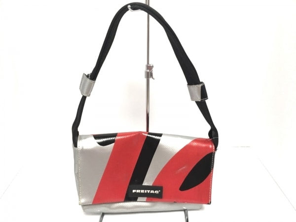 FREITAG(フライターグ) ショルダーバッグ シルバー×レッド×黒 PVC(塩化ビニール)