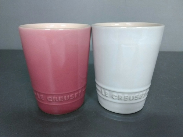 LE CREUSET(ルクルーゼ) マグカップ新品同様  ピンク×ライトブルー 2点セット 陶器