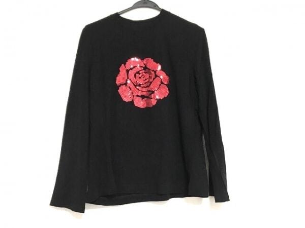 イタリヤ 長袖Tシャツ サイズ15 L レディース美品  黒×レッド スパンコール/フラワー