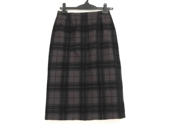 バーバリーズ スカート サイズ38 M レディース美品  ダークブラウン×ダークグレー