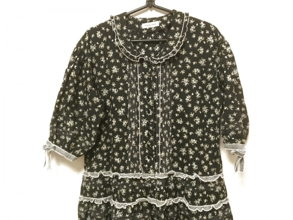 ワンダフルワールド ワンピース レディース美品  黒×白×マルチ リボン/フリル/花柄