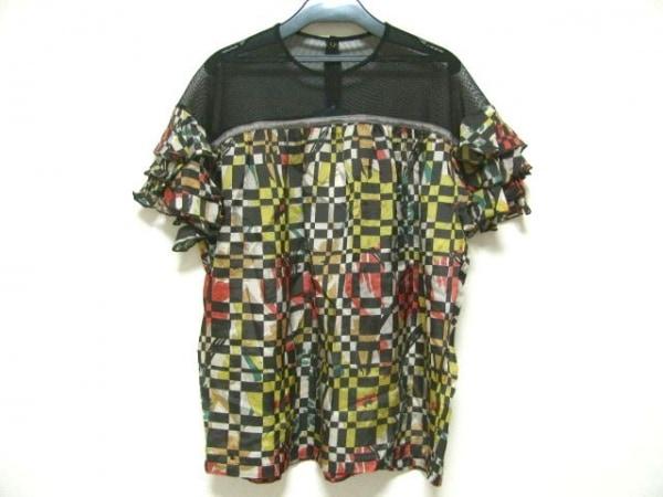kolor(カラー) 半袖カットソー サイズ2 M レディース 黒×マルチ メッシュ/フリル