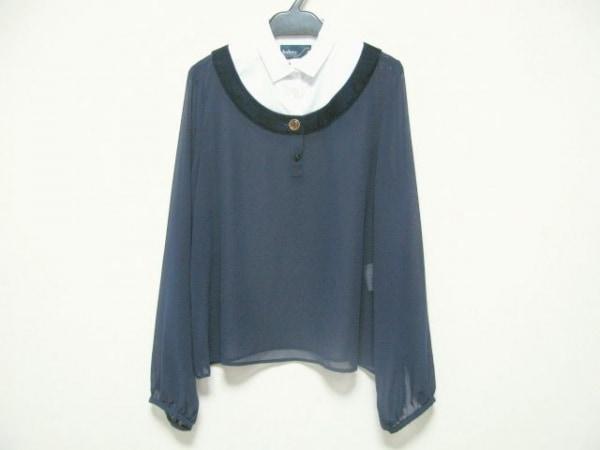 kolor(カラー) 長袖カットソー サイズ2 M レディース ネイビー×白 シースルー