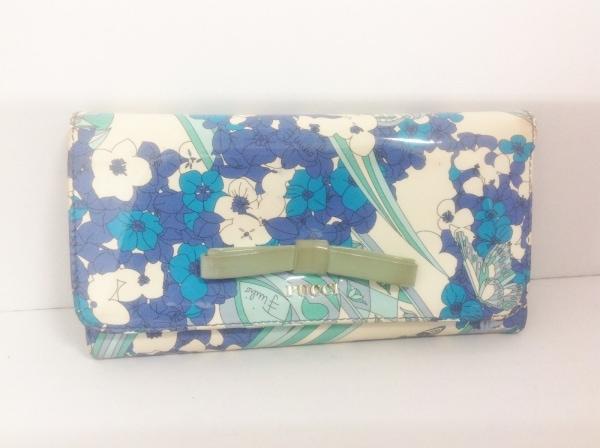 エミリオプッチ 長財布 白×ブルー×マルチ リボン/花柄 エナメル(レザー)