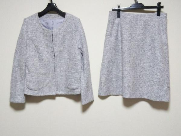 アールユー スカートスーツ サイズ3L レディース ライトグレー×白×シルバー ラメ
