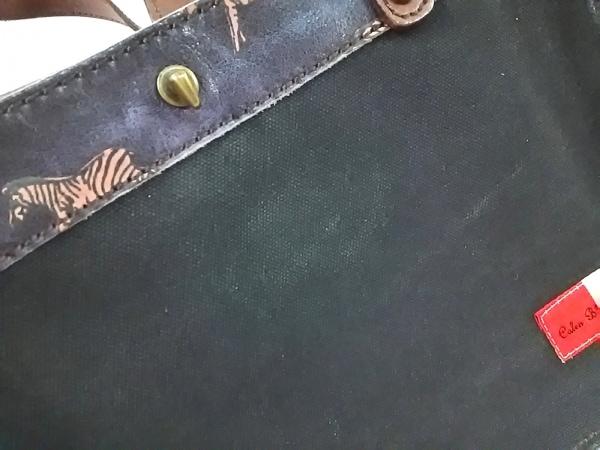カレンブロッソ トートバッグ 黒×ブラウン Calen Blosso 2000 キャンバス×レザー
