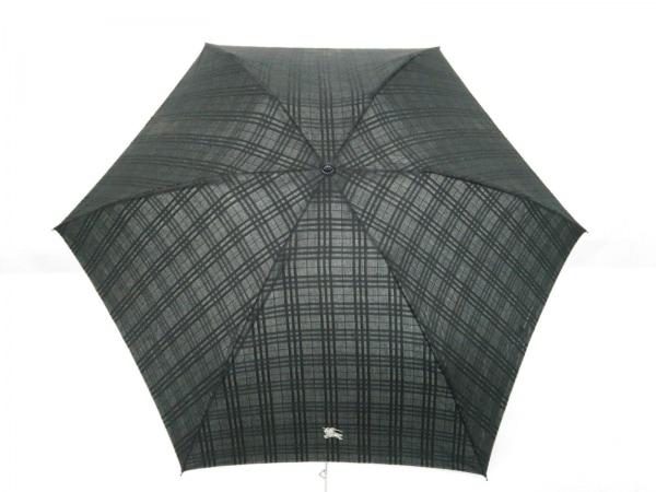 Burberry(バーバリー) 折りたたみ傘  黒×アイボリー チェック柄 化学繊維