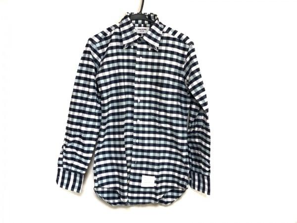 トムブラウン 長袖シャツ サイズ2 M メンズ ネイビー×ライトブルー×白 チェック柄