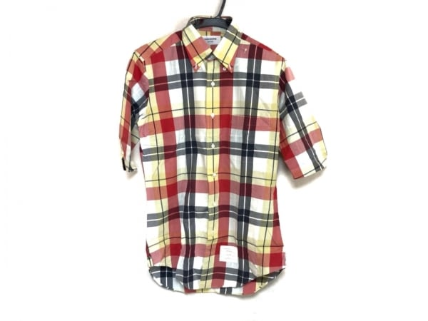 THOM BROWNE(トムブラウン) 半袖シャツ メンズ レッド×イエロー×マルチ チェック柄