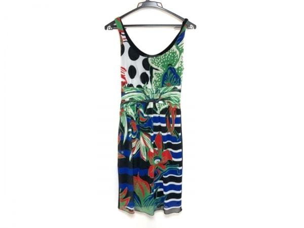 デシグアル ワンピース サイズXS レディース美品  黒×グリーン×マルチ 花柄