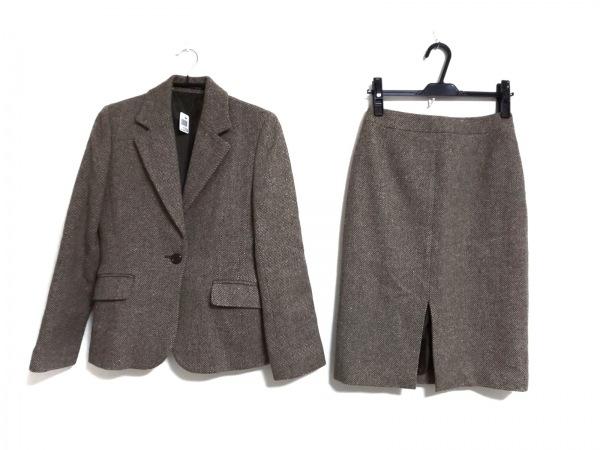 INED(イネド) スカートスーツ サイズ9 M レディース ブラウン×アイボリー