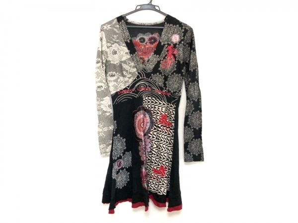デシグアル ワンピース サイズM レディース美品  黒×ベージュ×マルチ 花柄/刺繍