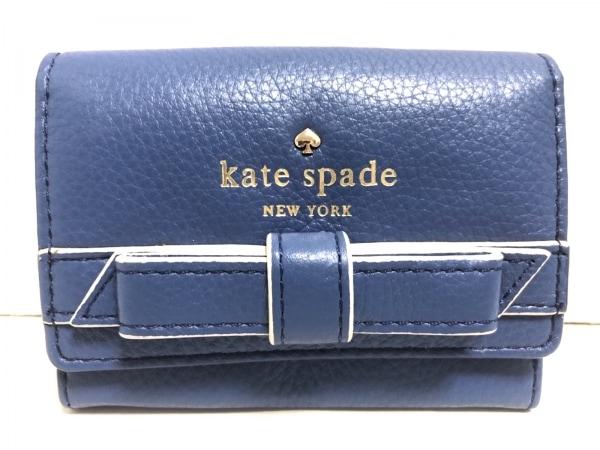Kate spade(ケイトスペード) コインケース ブルー リボン レザー