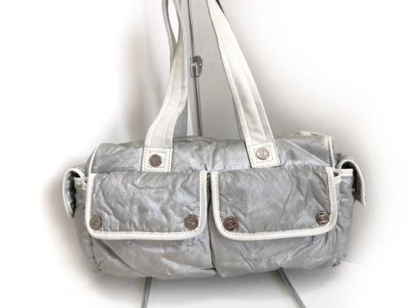 CELINE(セリーヌ) ハンドバッグ - ライトグレー×白 ナイロン×レザー