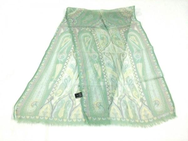 ETRO(エトロ) スカーフ美品  グリーン×白×マルチ ペイズリー柄/シースルー
