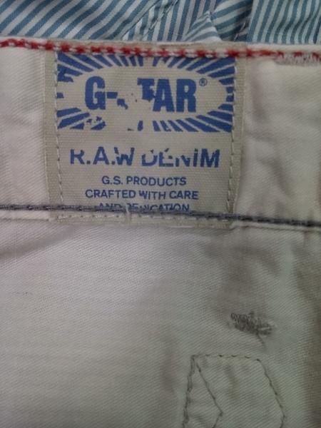 ジースターロゥ パンツ サイズ2 M レディース ライトブルー×白 ストライプ