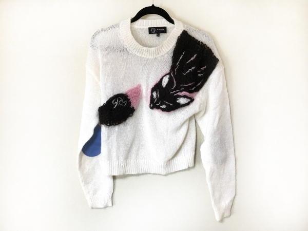 sretsis(スレトシス) 長袖セーター サイズ38 M レディース アイボリー×黒×ピンク