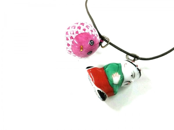 Herend(ヘレンド) ネックレス美品  陶器×化学繊維 ピンク×グリーン×マルチ