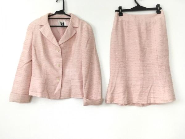 MUSEE D'UJI(ミュゼドウジ) スカートスーツ サイズ38 M レディース ピンク×白