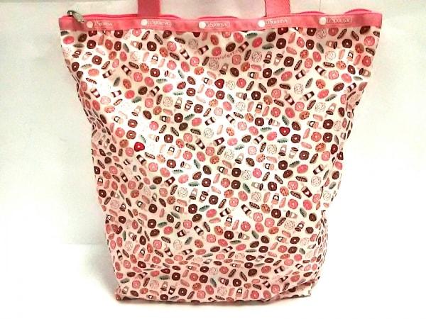 レスポートサック ショルダーバッグ美品  ピンク×アイボリー×マルチ ドーナツ柄