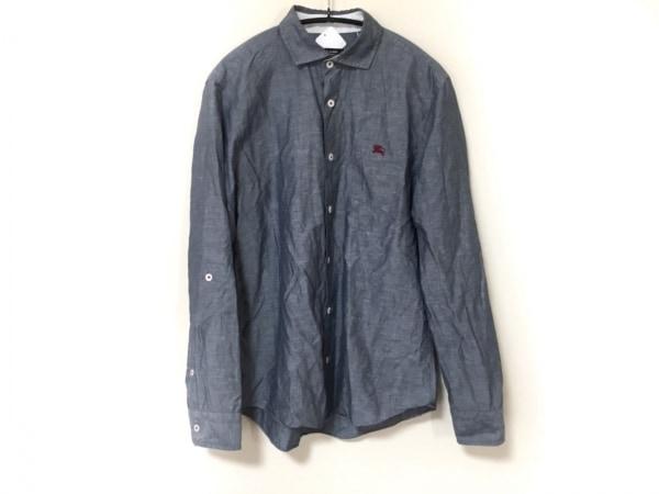 バーバリーブラックレーベル 長袖シャツ サイズ2 M メンズ ネイビー