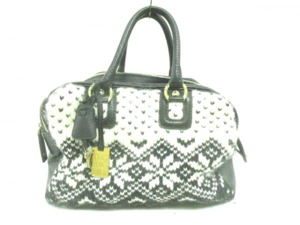 D&G(ディーアンドジー) ハンドバッグ 黒×白 ニット レザー×ウール