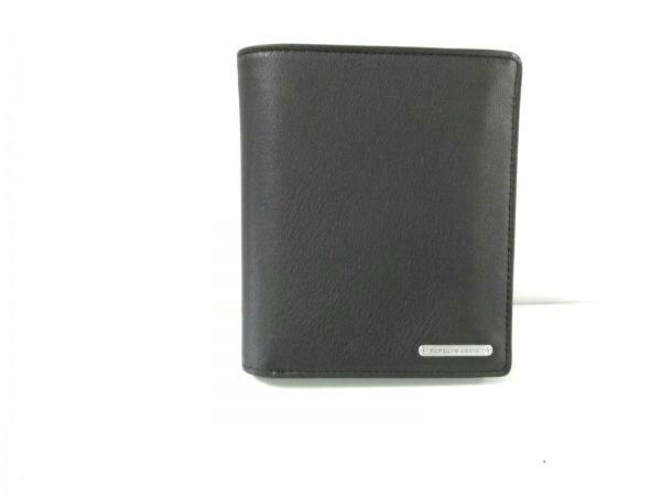 PORSCHE DESIGN(ポルシェデザイン) 2つ折り財布美品  黒 レザー