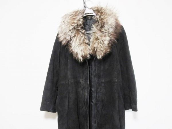 Moon Bat Fur(ムーンバットファー) コート サイズ15 L レディース 黒×ブラウン