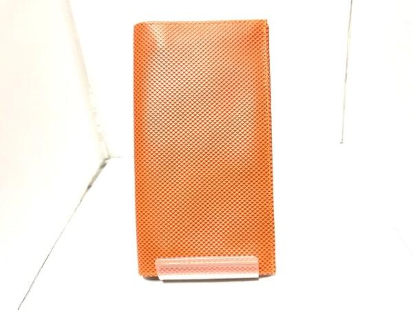 simpson(シンプソン) 長財布美品  オレンジ 型押し加工 レザー